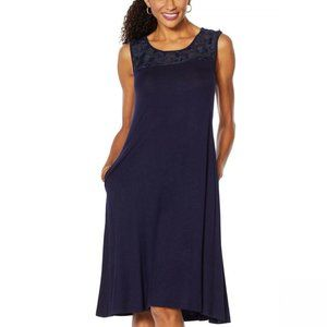 NWT Nina Leonard Chiffon Yoke Dress Plus 3X Navy